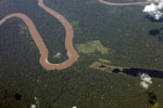 Aerial photograph of an Amazon oxbow lake