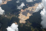 Massive open pit gold mine in the Amazon