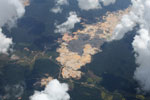 Massive open pit gold mine in the Amazon rainforest