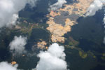 Aerial photo of an open pit gold mine in the Amazon rainforest