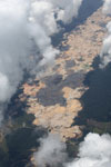 Aerial photo of an open pit gold mine in the Peru's Madre de Dios department