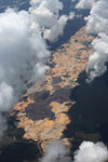 Massive open pit gold mine in the Amazon rainforest
