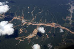 Aerial picture of gold mining damage in Peru's Amazon rainforest