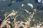Aerial photograph of gold mining damage in the Amazon rainforest