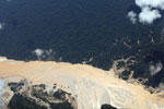 Aerial image of gold mining damage in the Peruvian Amazon