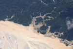 Plane picture of gold mining damage in the Amazon rainforest