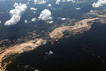 Plane picture of gold mining damage in Peru's Amazon rainforest