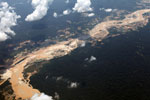 Plane photo of gold mining damage in the Peruvian Amazon