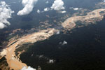 Plane photograph of gold mining damage in the Amazon rainforest