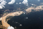 Plane photograph of gold mining damage in Peru's Amazon rainforest