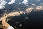Plane image of gold mining damage in the Amazon rainforest