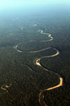 Aerial picture of a rainforest river in Peru's Western Amazon