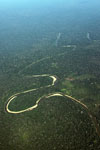 Rainforest river and forest clearing in the Peruvian Amazon
