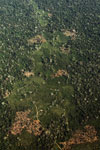 Aerial view of mosaic deforestation in the Peruvian Amazon
