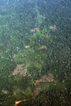 Airplane view of mosaic deforestation in the Peruvian Amazon