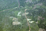 Overhead view of deforestation in the Peruvian Amazon