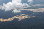 Amazon rainforest landscape scarred by illegal gold mining