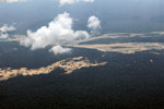 Amazon rainforest landscape scarred by gold mining