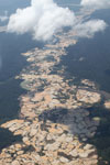 Plane view of Amazon landscape scarred by open pit gold mining [peru_aerial_1433]