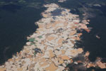 Overview view of Amazon landscape scarred by open pit gold mining