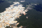 Airplane view of Amazon landscape scarred by open pit gold mining [peru_aerial_1463]