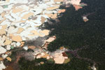 Airplane view of Amazon rainforest landscape scarred by open pit gold mines