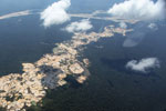 Aerial view of Amazon landscape scarred by open pit gold mining [peru_aerial_1493]