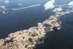 Aerial view of Amazon landscape scarred by open pit gold mines
