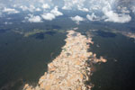 Aircraft view of Amazon landscape scarred by open pit gold mines