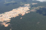 Aerial view of a massive gold mining area in the Peruvian Amazon
