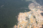 Overhead view of a massive gold mining area in the Peruvian Amazon