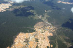 Overhead view of a massive gold mining area in the Amazon