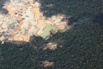 Aerial view of a massive gold mining area in Peru's Amazon region