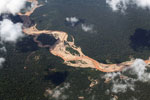 River silted and polluted by gold mining in the Amazon