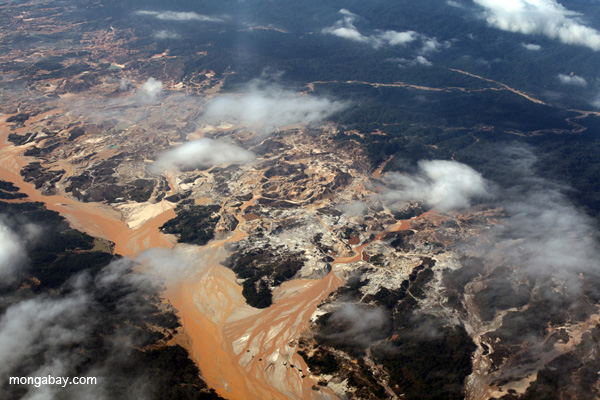 Airplane view of the Río Huaypetue gold mine in the Amazon rainforest. Photo by: Rhett A. Butler.