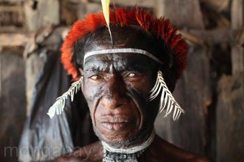 Mann des Dani-Stammes in traditioneller zeremonieller Bekleidung.