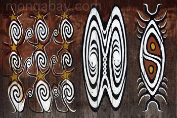 Rindenmalerei in Sentani