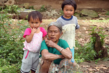 Children with their grandmother in South Sulawesi