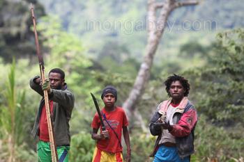 Bewaffnete Papuaner
