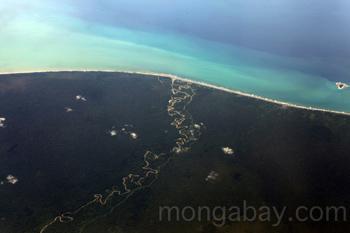Luftbild eines kurvenreichen Flusses im Tiefland des Regenwaldes, der bis an die Küste Neuguineas verläuft.