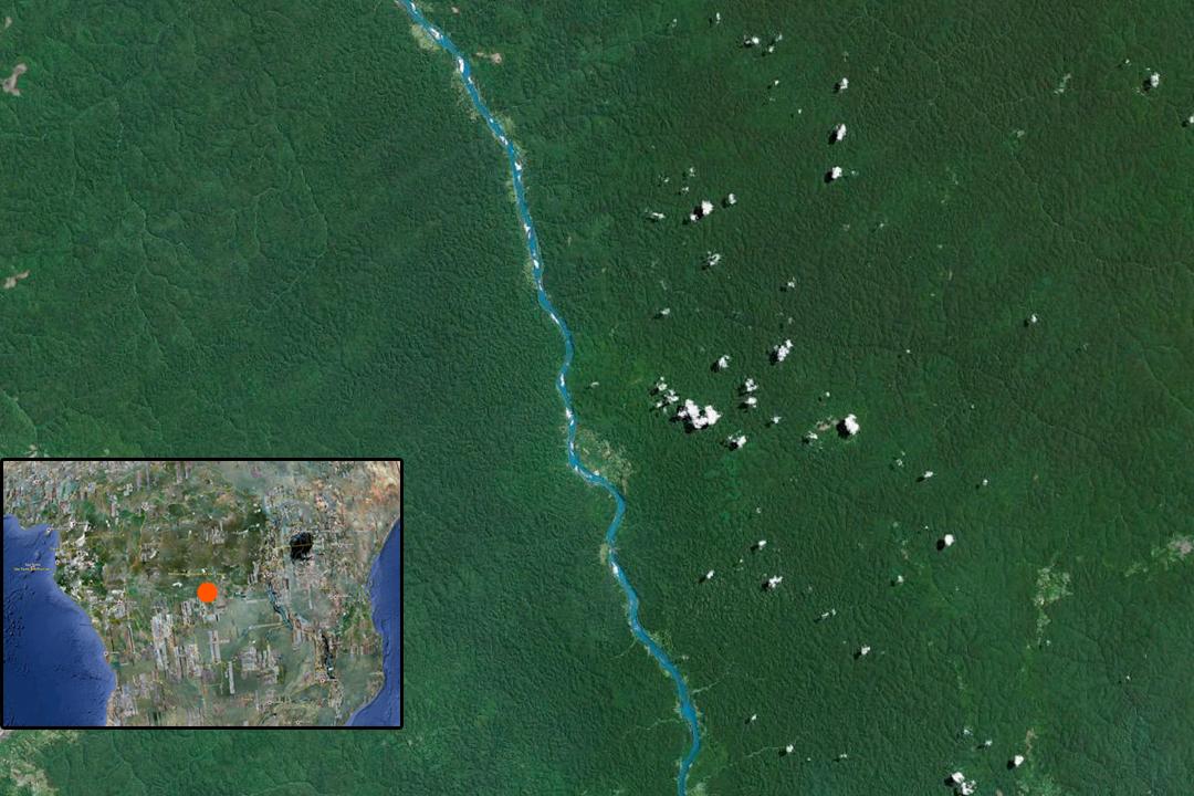 Google Earth-Bild vom Sankuru-Fluss in der Demokratischen Republik Kongo