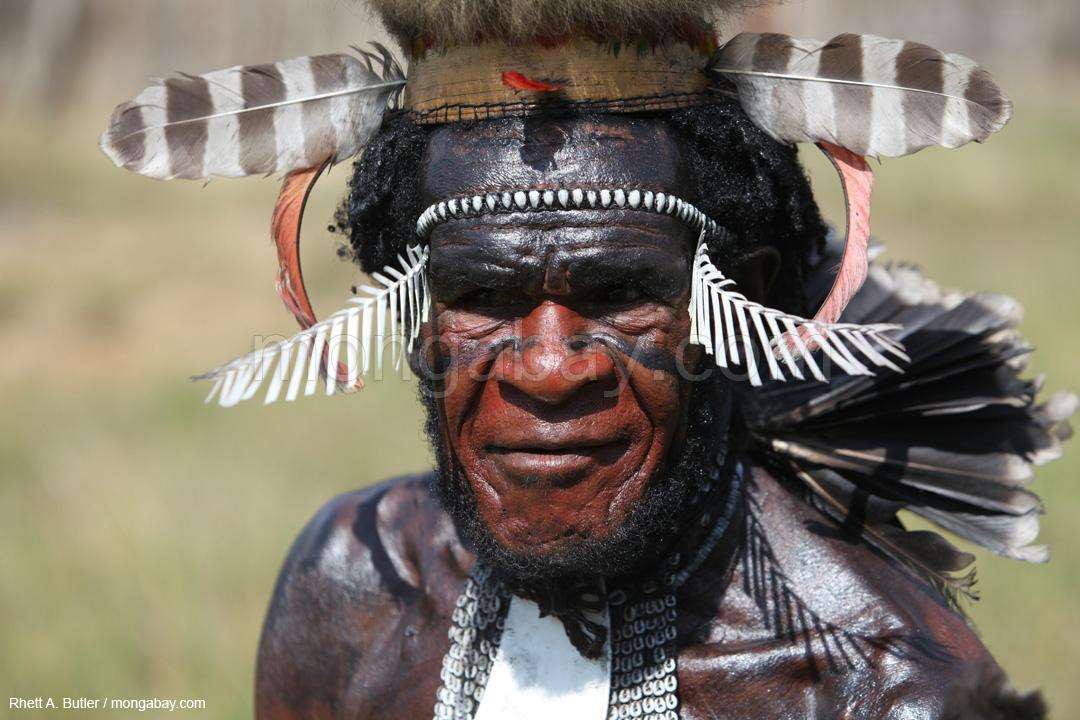 Mitglied des Dani-Stammes in traditioneller Tracht, Papua (Indonesisch-Neuguinea)