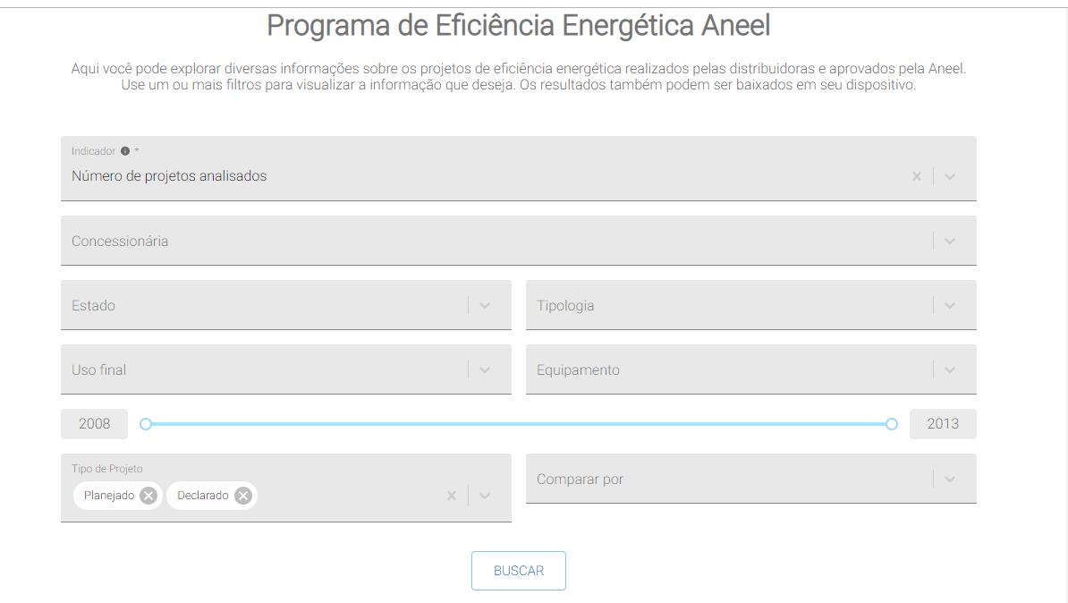 Plataforma permite que usuário filtre informações em categorias