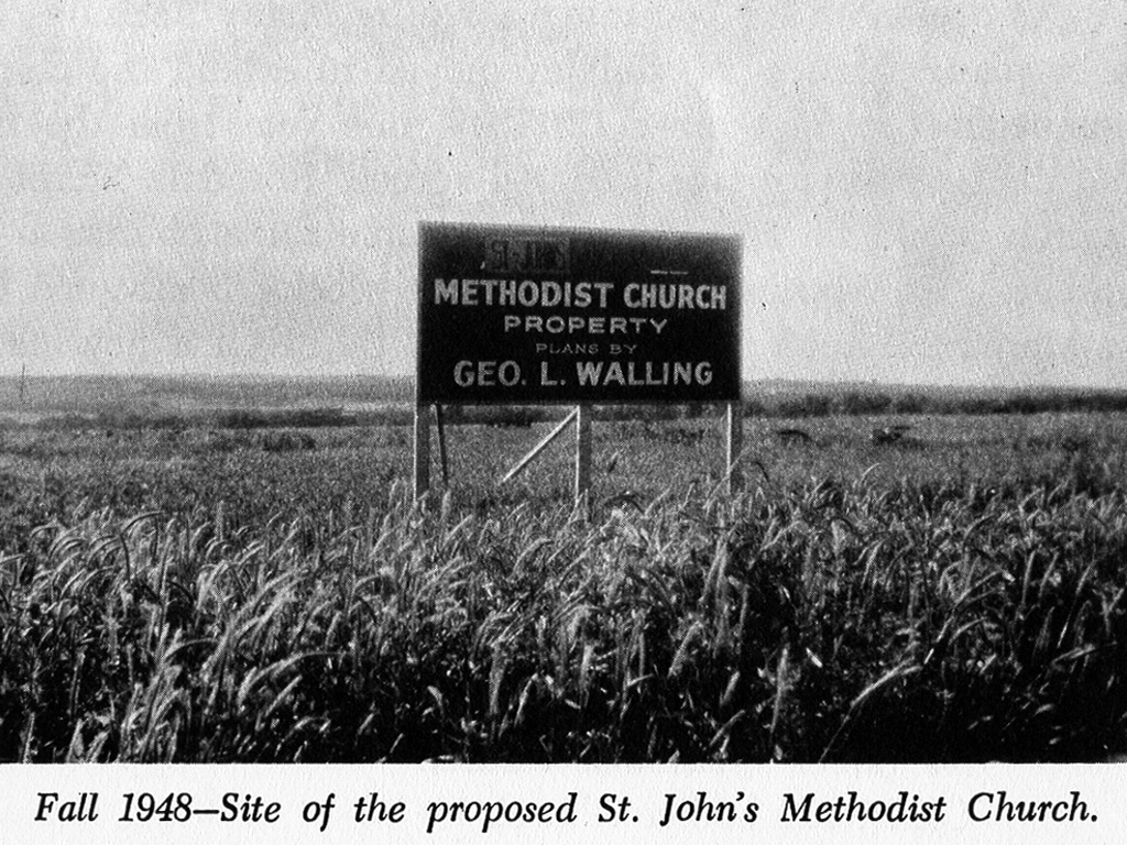Photo taken in Fall of 1948 of the field where Saint John's UMC was to be built