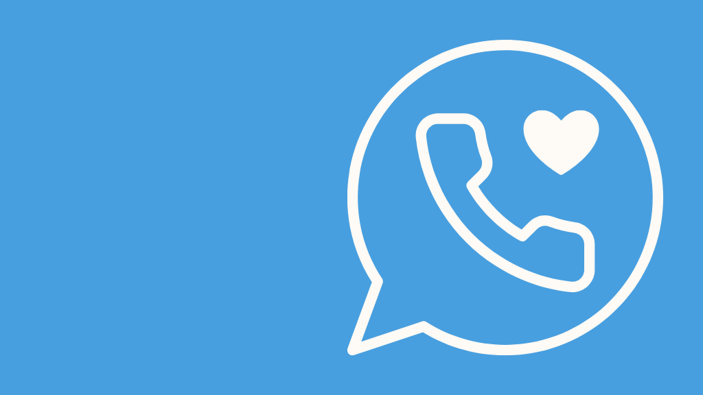 graphic of a speech bubble with a telephone and heart inside