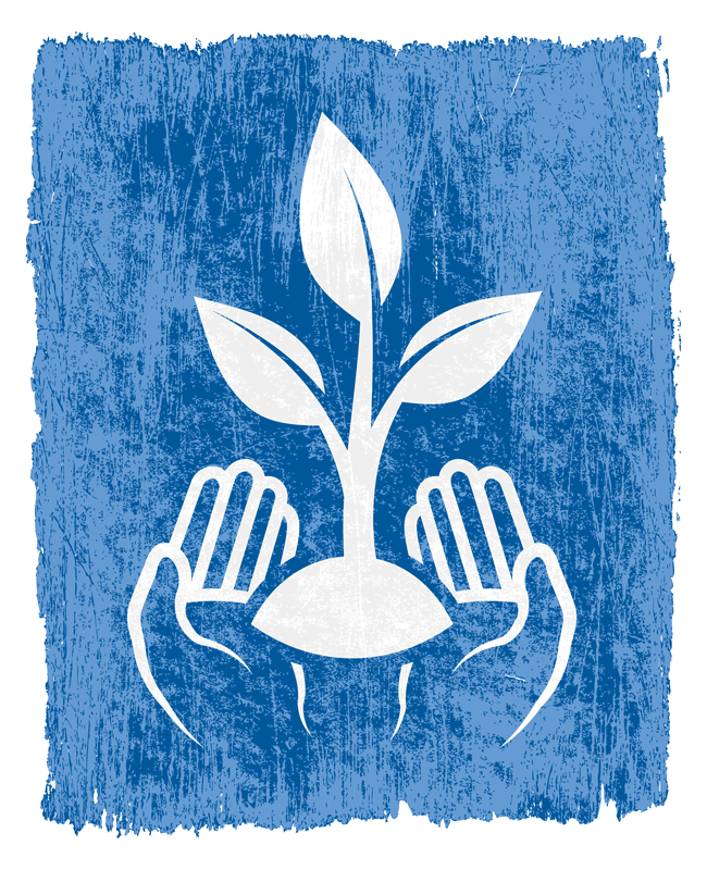 graphic: hands holding plant