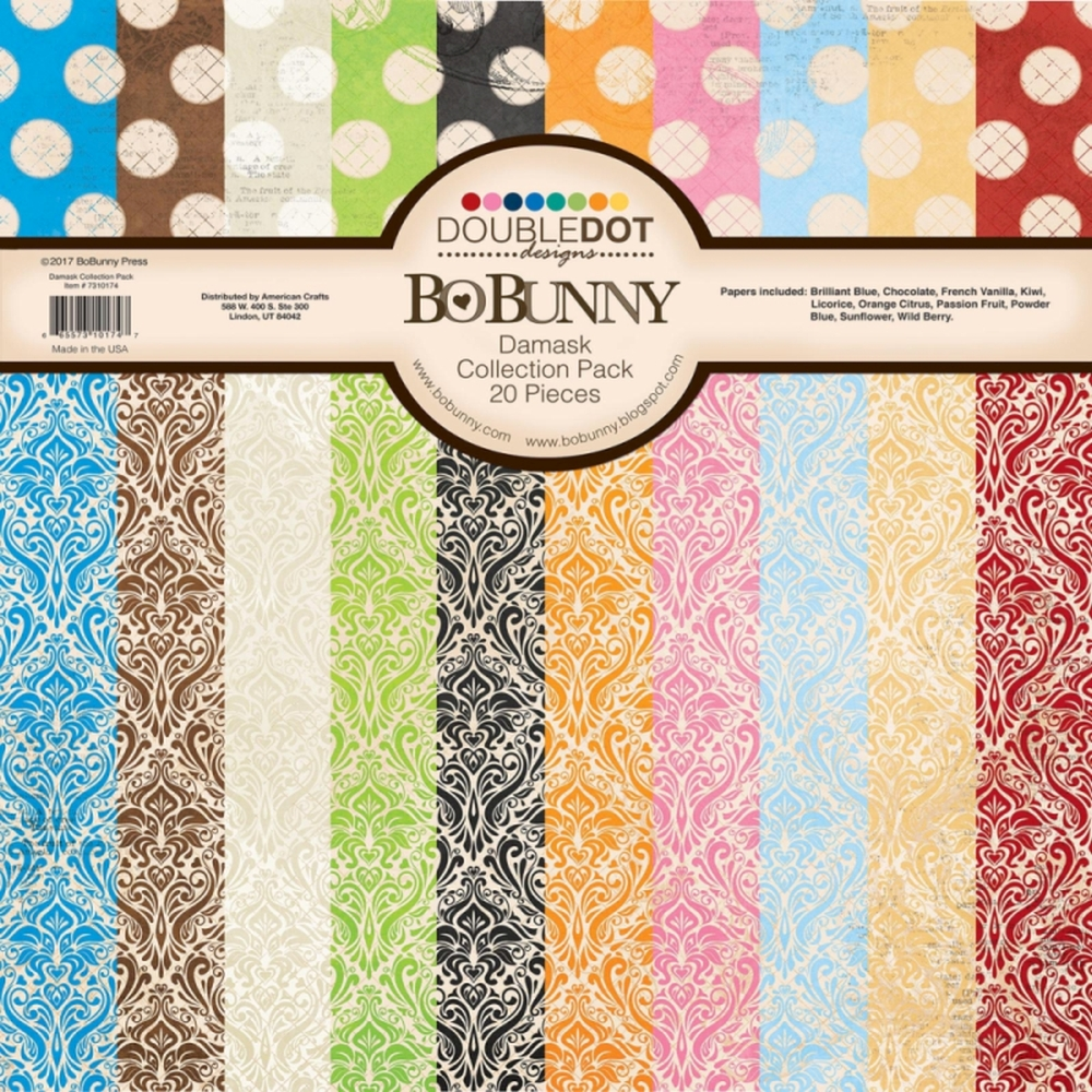 bo bunny double dot damask scrapbooking paper 12 x 12