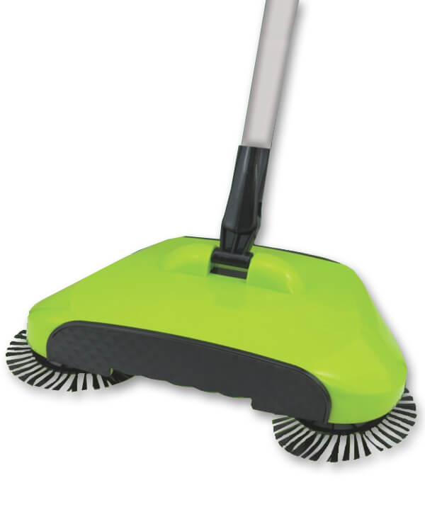 Eco Sweeper 360 Degree Triple Brush Spinning Vacuum Cleaning Manual Broom Green