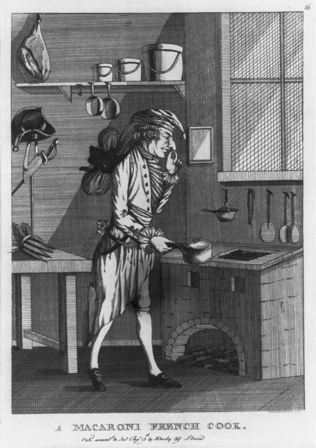 """Stew stoves were so closely linked with French cook-ing that English cartoons and plays satirizing French fashion regularly featured them. This print from 1771 shows a """"macaroni"""" (English slang for a French dandy — note the hairdo) cooking at a stew stove."""