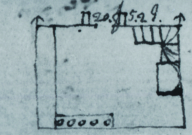 Jefferson's design sketch for the South Pavilion kitchen. Note the five-burner stew stove along the north wall, at the bottom, and the counter, or dresser, running the length of the east wall, to the left.